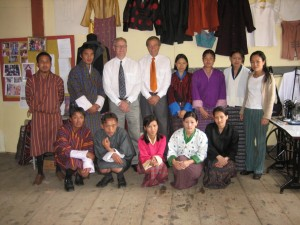 Ambassador Micheal  Sternberg  and Head of LOD in Thimphu visiting the class