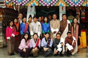 Director Tshering Tobgay in the Department of Labour and Human Resource, the principal of the National Institute for Zorig Chusum, Jigme Yezer, and the head LOD, Torben Beller visiting the class.